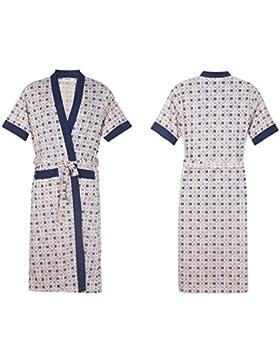 SUxian Gran Cartas de Verano de los Hombres Impresos Albornoz de Manga Corta de algodón Albornoz camisón Pijama