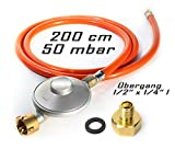 Anschluss-Set bestehend aus Druckminderer 50 mbar Gasschlauch 200 cm + Übergang 1/2