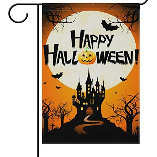 Wamika Halloween Gartenflaggen 12 x 18 doppelseitig, Fledermaus Kürbisschloss Vollmond lustig gruselig Willkommen Herbst Winter Urlaub Outdoor Hofhof Haus Flaggen Banner Party Home Decor 12x18in