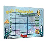 Memoboard 80 x 60 cm, Stundenplan - Unterwasserwelt - Mädchen & Jungen - Kinderzimmer - Schule - Grundschule - Planer - Stunde - Raum - Lehrer - Uhrzeit - Schreibtisch - Glasbild - Handmade