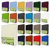 leevitex® Jersey Spannbettlaken, Spannbetttuch 100% Baumwolle in vielen Größen und Farben MARKENQUALITÄT ÖKOTEX Standard 100 | 90 x 200 cm - 100 x 200 cm - Creme/Natur