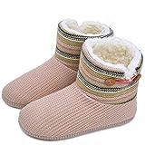 KuaiLu Damen Slipper-Stiefel Gestrickte pelzige Drinnen/Draußen Hausschuhe gemütliche Slouch Pantoffeln