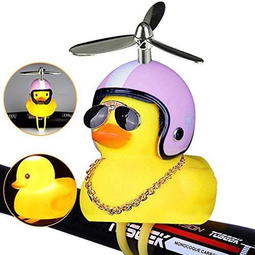 Volwco Coolkinderwagen Fahrrad Dekoration, Kneifen Silikon Helm Gelb Ente Spielzeug für Kinder, Niedliche Akusto-Optische Spielzeug mit Rotierenden Schaft für Jungen Mädchen Erwachsene (Fahrrad-propeller)