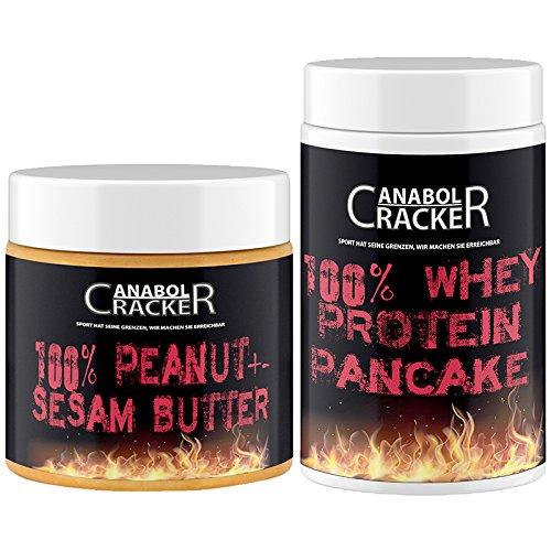 100% Peanut und Sesam Butter, 500g Dose, Smooth Geschmack + 100% Whey Protein Pancake, 400g Dose, Molkenprotein Eiweißpulver Kekse