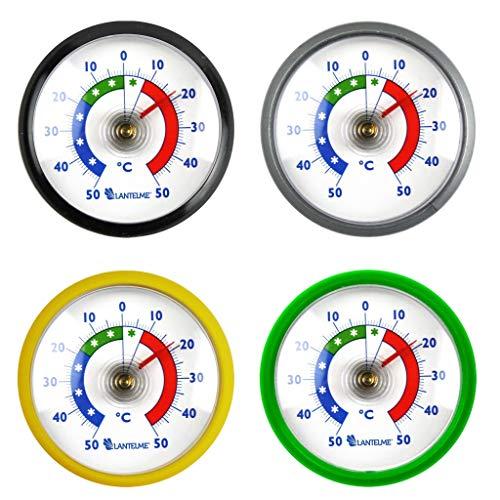 Lantelme Kühlschrankthermometer 4 Stück Set Selbstklebend Analog Kühlschrank Gefrierschrank Thermometer schwarz grau gelb grün 7014