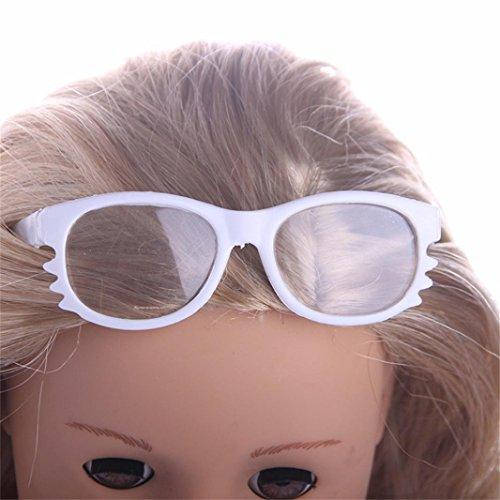 Puppe Gläser , YUYOUG Stilvolle Kunststoffrahmen Sonnenbrille für 18 Zoll Unsere Generation American Girl Doll Und Andere 43-46 Cm Puppen (C)