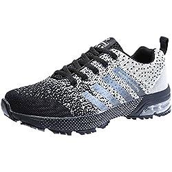 Zapatillas Deporte Hombre Zapatos para Correr Athletic Cordones Air Cushion 3cm Running Sports Sneakers Negro Negro-Blanco Azul Rojo Negro-Blanco 37