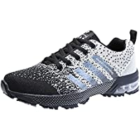 Zapatillas Deporte Hombre Zapatos para Correr Athletic Cordones Air Cushion 3cm Running Sports Sneakers 36-47 Negro Negro-Blanco Azul Rojo