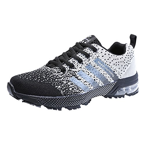 Zapatillas Deporte Hombre Zapatos para Correr Athletic Cordones Air Cushion 3cm Running Sports Sneakers Negro Negro-Blanco Azul Rojo Negro-Blanco 40