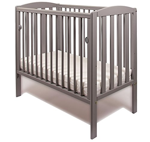 NEW WOOD LITTLE BABES TOBIE COT COMPACT MINI SPACE SAVER BABY BED (Grey) GS Direct This Tobie Space Saver Cot is Perfect for Small Room. Three Position Base Adjustment, Slatted Ends And Rounded Side Dowels With one Drop Side. Suitable From Birth to 3 years babes. Solid Wood Structure in black colour, With Teething Rails. 1