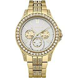 Little Mistress Women's Quartz Watch with White Dial Analogue Display and Gold Bracelet LM001