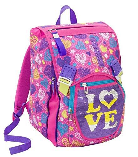 Zaino scuola SEVEN - SHINEHEART - Rosa - estensibile - 28 LT - Paillettes reversibili - elementari e medie