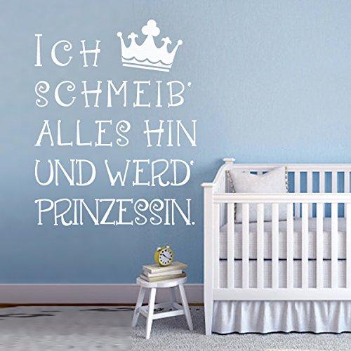 """WallsUp Wandtattoos """"Ich schmeiß alles hin und werd Prinzessin"""" Für Mädchen Zimmer (custom, Large)"""
