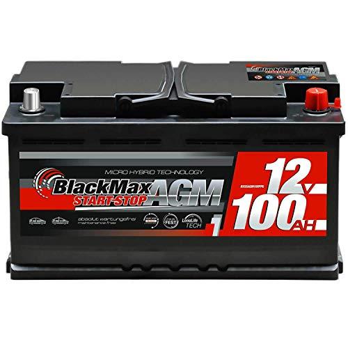 BlackMax Autobatterie Start-Stop 100Ah 12V AGM Starter Batterie VRLA ersetzt 95Ah 92Ah