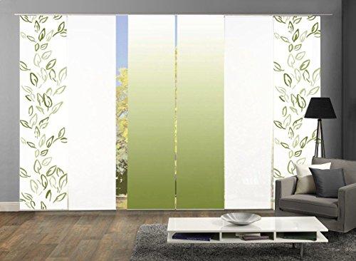 Home Fashion 96993 | 6er-Set Schiebegardinen Concord | blickdichter Dekostoff | grün | jeweils 245x60 cm