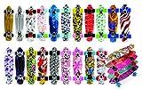 Meteor® designen multicolore Cruiser Mini per Bambini & Ragazzi – Skateboard in plastica in stile retro, la più alta qualità (zigzag)