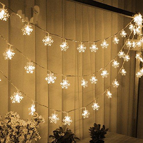 Trixes 1,5 m Lichterkette mit 20 warmen weißen Schneeflocken LEDs Fairy Lights Weihnachtsdekoration