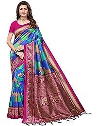 a8e2724bc6 Multi Color Checkered Ethnic Print with Elephant Butta & Border Mysore Silk  Saree with Tassels