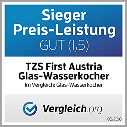 TZS-First-Austria-2200-Watt-Glas-Edelstahl-Wasserkocher-17-Liter-blaue-LED-Beleuchtung-360-Grad-kabellos-Kalkfilter-BPA-Frei-wei