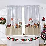 Hukz Weihnachtsmann trägt einen Vorhang, Einzelstück,Weihnachtsvorhang Tüll Fenster Behandlung Voile Drape Valance 1 Stoff(100x130cm) (Farbe)