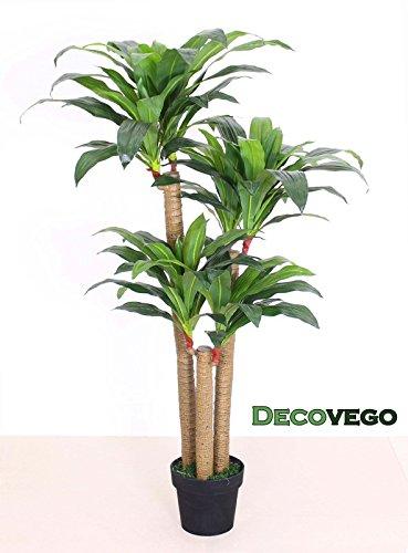 Decovego Drachenbaum Kunstpflanze Kunstbaum Künstliche Pflanze mit Topf 140cm