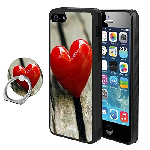 (Sugar Skull Day of Dead iPhone SE 5s 5 Handyhülle mit Ringhalter Ständer, stoßfest, weiches TPU Premium PC Schutz Bumper 360 Grad Rotation Ring Ständer für iPhone SE 5s 5 schwarz, Red Heart Candy)