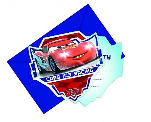Procos Cars Ice Gestanzte Einladungskarten mit Umschlag