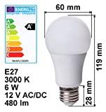 edi-tronic LED Lampe E27 12V 6W A+ warmweiß 480lm 3000K Birne Energiesparlampe 12 Volt Licht