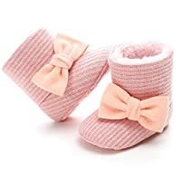 Baby Girls Toddler Knit Soft Fur Winter Warm Snow Boots Bowknot Crib Shoes with No-Slip Sole Pink