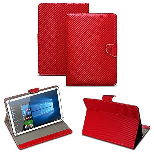 NAUC Universal Tablet Tasche mit Standfunktion Hülle für Blaupunkt Endeavour 101M 101G 101L Tablet Schutztasche in Edler Carbon-Optik Schutzhülle Cover Case, Farben:Rot