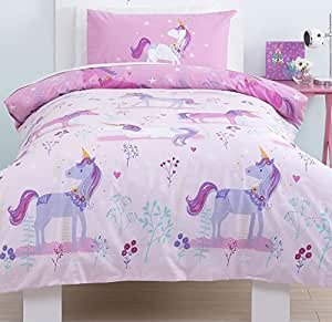 parure de lit pour enfant licorne magique. Black Bedroom Furniture Sets. Home Design Ideas