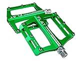 UPANBIKE Mountainbike-Kugellager-Pedale 9/16 Zoll Spindel Aluminiumlegierung Flache Plattform für BMX MTB Rennrad, grün