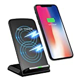 10W Fast Wireless Charger,Seneo Qi Ladegerät Drahtlose Induktionsladegeräte Handy Schnellladestation mit 2 Spulen, Ladeanzeige, automatisch aktivieren für Samsung S9 / S8 / S8+ / S7 / S6 / Edge / Plus / Note, iPhone 8 / iPhone 8 Plus / iPhone X, Nexus, HTC, LG und alle anderen Geräte(Adapter Nicht im Paket).