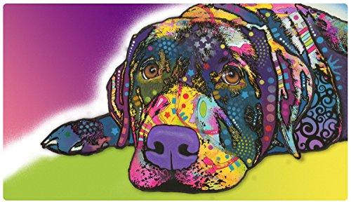 Drymate Haustier-Platzdeckchen, Dean Russo Designs, Hundefutter, Katzenfuttermatte, Zorb-Tech Anti-Flow-Technologie für Oberflächenschutz 40,6 x 71,1 cm, Savvy Labrador -