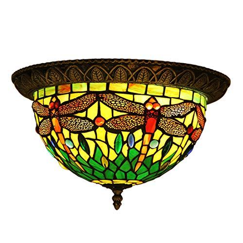 Makenier Retro-Deckenleuchte im Tiffany-Stil, gebeiztes Glas, Libellenmotiv, Einbau-Einheit, 30,5cm Lampenschirm, grün