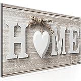 decomonkey Bilder Home Haus 100x45 cm | Leinwandbilder | Vlies Leinwand | Wand | Bild | Wandbilder | Wandbild | Kunstdrucke | Wanddeko | Liebe Herz weiß Vintage Retro