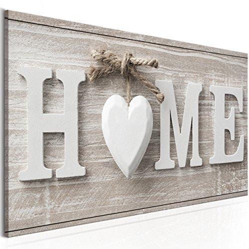 decomonkey Bilder Home Haus 100x45 cm 1 TLG. Leinwandbilder Bild auf Leinwand Vlies Wandbild Kunstdruck Wanddeko Wand Wohnzimmer Wanddekoration Deko Herz Vintage