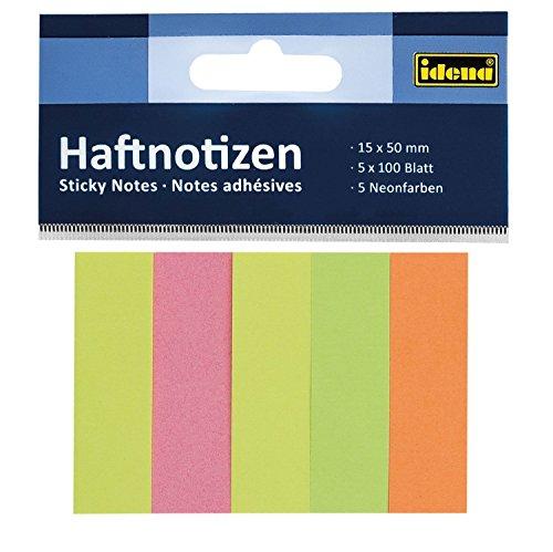 Idena–Notas adhesivas 15x50 5x neon, 500 Blatt