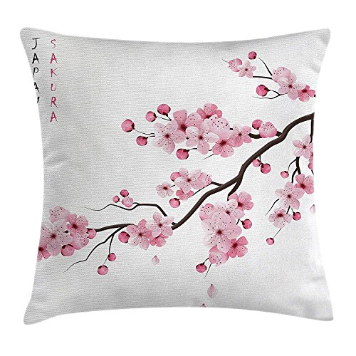 llow Cushion Cover, Image of Japanese Cherry Branches with Blooming Flowers Spring Decorative Boho Art, Decorative Square Accent Pillow Case, 18 x 18 Inches, Pink White ()