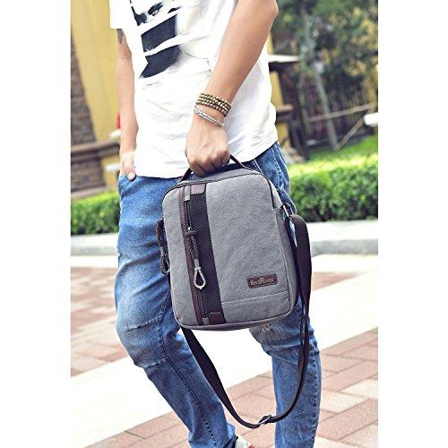 MeCooler Umhängetasche Herren Schultertasche Vintage Herrentaschen Kuriertasche Retro Messenger Bag Canvas Taschen für Schule Kleine Sport Tasche Handtasche Grau