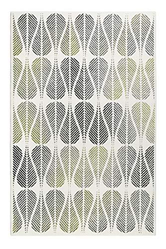 Teppich Grün Grau Creme-Beige Kurzflor für Wohnzimmer Schlafzimmer Flur Esprit Home ZENO (80 x 150 cm)