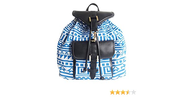 8780ef22c5 Girly HandBags Fabric Canvas Aztec Print Backpack Rucksack Faux Leather  Trim College School Gift -- Blue  Amazon.co.uk  Shoes   Bags