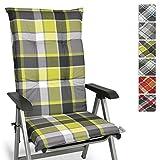 Beautissu Sunny GR Hochlehner Auflage für Gartenstuhl 120x50 cm in Grün Kariert - Bequemes Sitzkissen Polsterauflage UV-Lichtecht - weitere Designs erhältlich
