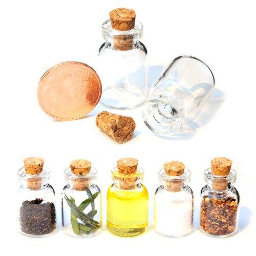 1,5 Ml Mini (Mini-Fläschchen 1,5 ml mit Korken für Dekoration im 10er Set, kleine Glas-Flasche, Puppen-Gläschen)