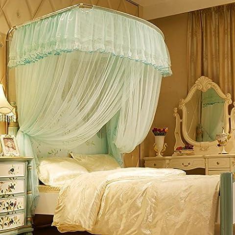 Verde en forma de U tiendas telescópica redes tres puertas de acero inoxidable stent cortina decoración hogar Deluxe 1.5m1.8 m cama , 2