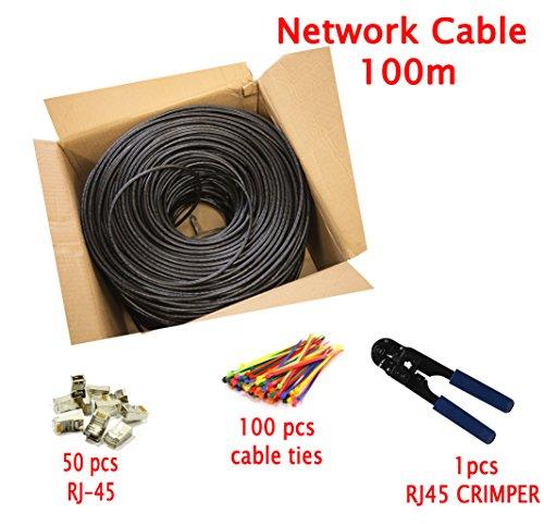 Multi Kabel Premium 100 meter Cat7 Ethernet Netzwerk kabel mit RJ45 Steckverbinder - UTP - Schwarz - 100m - OFC Leitern - mit Kabel Crimp Werkzeug + 100 Kabelbinder + 50 Kabelclips enthalten