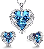 MXIN Angel Wing Heart Necklaces and Earrings Embellished with Crystals from Swarovski 18K White Gold Plated Je