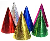 20 Stück 'Partyhütchen / Hologramm-Folie', bunt-sortiert, mit Hutgummi