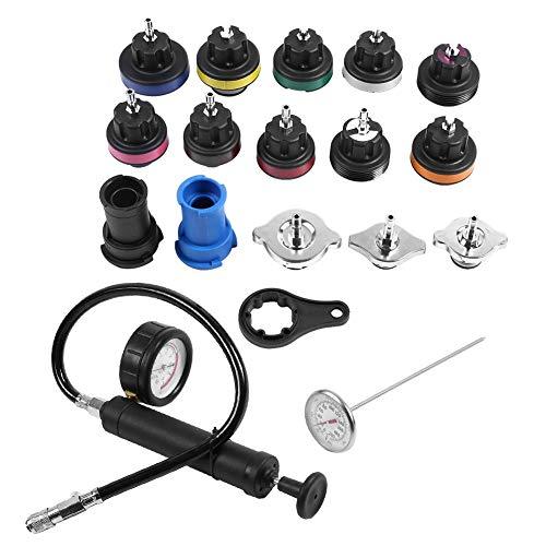 18pcs Depósito universal de agua Detector de fugas Kit de probador del sistema de enfriamiento del automóvil con prueba de presión Bomba manual con manómetro + termómetro + adaptador de radiador