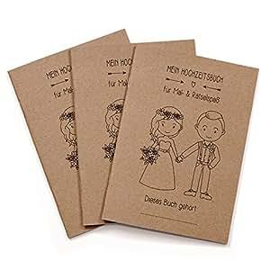3er Set Hochzeitsmalbuch im Boho- und Vintage-Stil mit liebevoll gestalteten Mal- und Rätselseiten - Gastgeschenke zur Hochzeit, Malbuch für Kinder, Kinder-Beschäftigung, Gästebuch